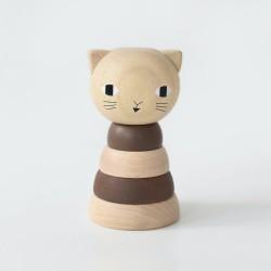 Chat à empiler en bois -...